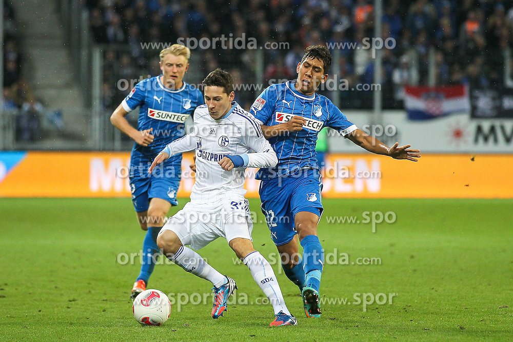 03.11.2012, Rhein Neckar Arena, Sinsheim, GER, 1. FBL, TSG 1899 Hoffenheim vs Schalke 04, 10. Runde, im Bild Am Ball Julian DRAXLER (FC Schalke 04), deneben Roberto FIRMINO (TSG 1899 Hoffenheim)/ Zweikampf // during the German Bundesliga 10th round match between TSG 1899 Hoffenheim and Schalke 04 at the Rhein Neckar Arena, Sinsheim, Germany on 2012/11/03. EXPA Pictures © 2012, PhotoCredit: EXPA/ Eibner/ ATTENTION - OUT OF GER *****
