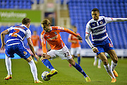 Chris Gunter, Andrew Shinnie and Michael Hector during the Sky Bet Championship match between Reading and Birmingham City at the Madejski Stadium, Reading, England on 22 April 2015. Photo by Adam Rivers.