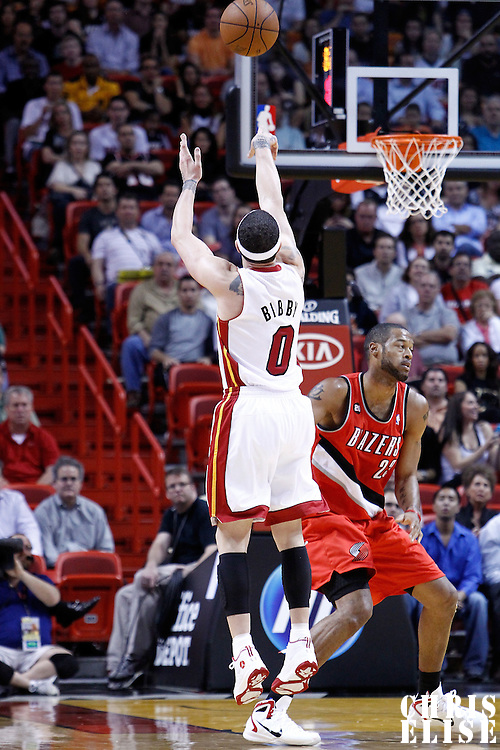 08 March 2011: Miami Heat point guard Mike Bibby (0) takes a jumpshot during the Portland Trail Blazers 105-96 victory over the Miami Heat at the AmericanAirlines Arena, Miami, Florida, USA.
