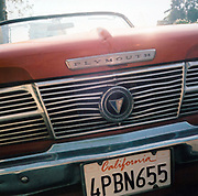Detail of the front of a Plymouth car, California, USA 1990's