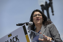 April 30, 2019 - Washington, District of Columbia, U.S. - United States Representative Rashida Tlaib, Democrat of Michigan, speaks during a press event in front of the United States Capitol in Washington, D.C. on April 30, 2019. Several members of Congress attended the event and spoke out against recent tweets by President Donald Trump that attacked Rep. Ilhan Omar. Credit: Alex Edelman / CNP (Credit Image: © Alex Edelman/CNP via ZUMA Wire)