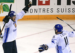 Teemu Selanne (8) of Finland celebrates after he scored at ice-hockey match Finland vs USA at Qualifying round Group F of IIHF WC 2008 in Halifax, on May 11, 2008 in Metro Center, Halifax, Nova Scotia, Canada. (Photo by Vid Ponikvar / Sportal Images)