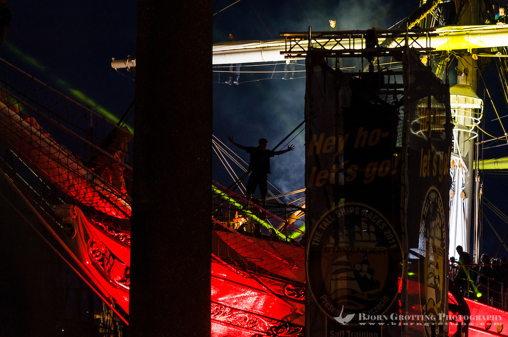 Norway, Stavanger. Tall Ships Race in Stavanger 2011. Purified in Blood playing at the closing Ceremony.