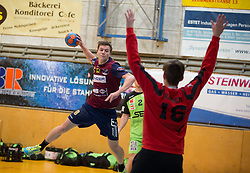 09.12.2014, Sporthalle, Leoben, AUT, OeHB-Cup Achtelfinale, Union JURI Leoben vs SG INSIGNIS Handball West Wien, im Bild Sebastian Spendier (Leoben), Florian Keiper (West Wien) // durning the OeHB-Cup, Round of the last sixteen, between, Union JURI Leoben vs SG INSIGNIS Handball West Wien at the Sport Hall, Leoben, Austria on 2014/12/09, EXPA Pictures © 2014, PhotoCredit: EXPA/ Dominik Angerer