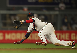August 7, 2017 - Minneapolis, MN, U.S.A - Minnesota Twins shortstop Jorge Polanco snared a grounder by Milwaukee Brewers second baseman Hernan Perez in the sixth inning. Polanco threw to second for a force out of the Brewers Eric Thames while Perez was safe at first.   ]  JEFF WHEELER • jeff.wheeler@startribune.com ....The Minnesota Twins began a four game inter-league series with the Milwaukee Brewers Monday night, August 7, 2017 at Target Field in Minneapolis. (Credit Image: © Jeff Wheeler/Minneapolis Star Tribune via ZUMA Wire)