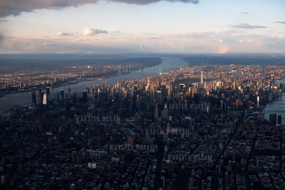 April 8, 2018 - New York, NY : Aerial View of midtown Manhattan, New York City, as well as the Empire State Building, the Hudson River, the George Washington Bridge, and the Hudson River.  CREDIT: Karsten Moran / REDUX