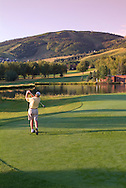 golfer at Park City Golf Club, Park City, Utah USA