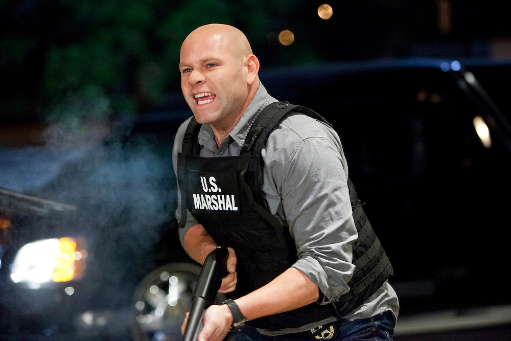 In this episode of Breakout Kings, not being a huge fan of being shot at, and possessing the sort of personality that tends to cause him to take things personally, Ray returns fire. Photo: Skip Bolen / A&E Television Networks