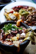 Molcajete bowl, seafood stew, Rio San Pedro Restaurant, Tlaquepaque, Guadalajara, Jalisco, Mexico