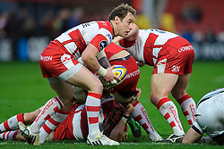 Gloucester Scrum-Half (#9) Jimmy Cowan in action during the first half of the match - Photo mandatory by-line: Rogan Thomson/JMP - Tel: Mobile: 07966 386802 05/01/2013 - SPORT - RUGBY - Kingsholm Stadium - Gloucester. Gloucester Rugby v London Irish - Aviva Premiership.