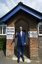 May 23, 2019 - Biggin Hill, Biggin HIll, UK - Biggin Hill, UK. Brexit party leader Nigel Farage arrives at a polling station in Biggin HIll to vote in the European Elections. (Credit Image: © Ray Tang/London News Pictures via ZUMA Wire)