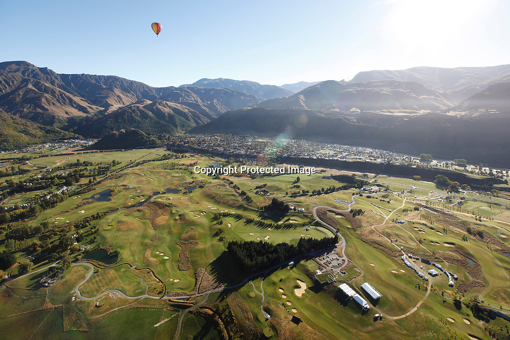 An aerial view of The Hills, during round one of the New Zealand PGA championships at The Hills, Arrowtown, New Zealand. Thursday, 29 March 2012. Photo: Michael Thomas/ photosport.co.nz