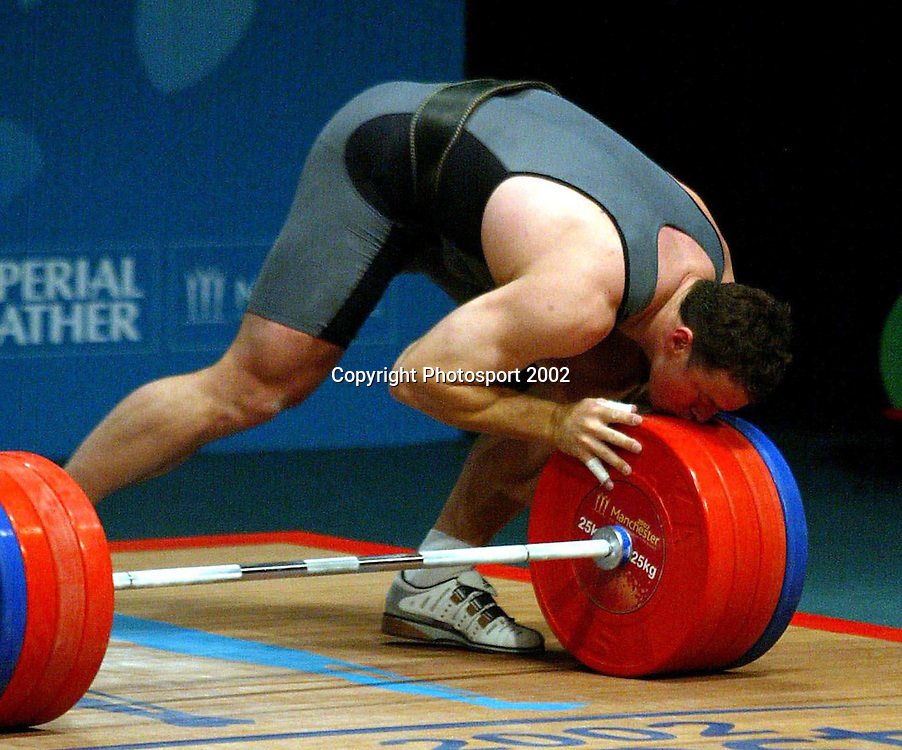 Nigel Avery. Weightlifting. 2002 Manchester Commonwealth Games. Manchester, England. 15 August 2002. Photo: Andrew Cornaga/PHOTOSPORT