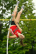 Sydnie Leroy of Port Jervis pole vaults during the Section 9 Class A track and field championship meet in Middletown on Wednesday, Feb. 27, 2009. She won the event by clearing 12 feet.