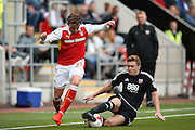 Brentford  midfielder Lewis Macleod (4) tackles Rotherham United midfielder, on loan from Celtic, Scott Allan (21)  during the EFL Sky Bet Championship match between Rotherham United and Brentford at the New York Stadium, Rotherham, England on 20 August 2016. Photo by Simon Davies.