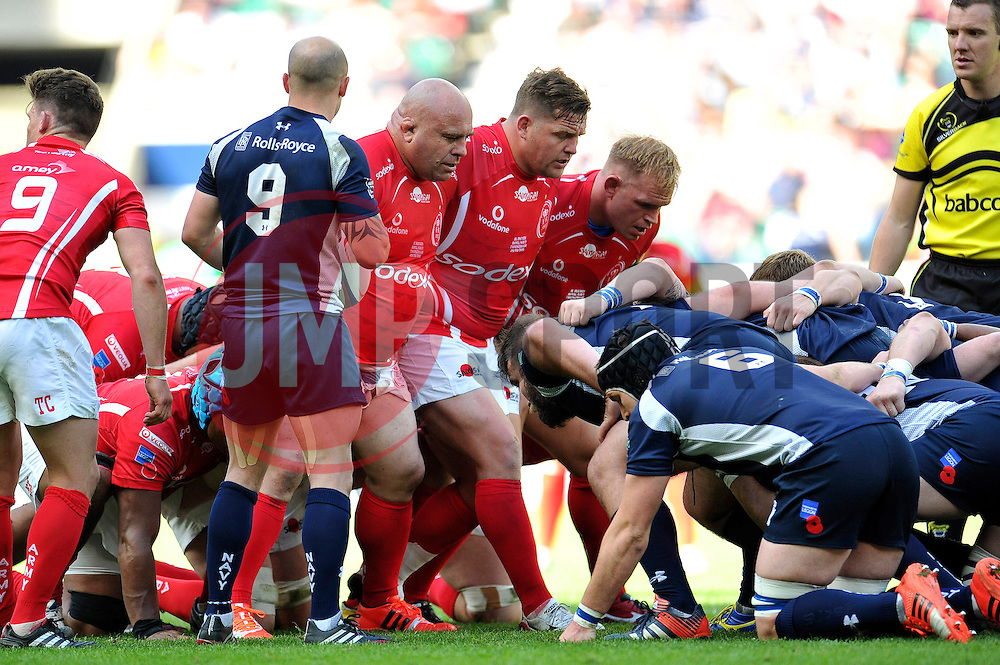 The Army front row of Chris Budgen, Matthew Dwyer and Ricky Reeves prepare to scrummage - Photo mandatory by-line: Patrick Khachfe/JMP - Mobile: 07966 386802 09/05/2015 - SPORT - RUGBY UNION - London - Twickenham Stadium - Army v Royal Navy - Babcock Trophy