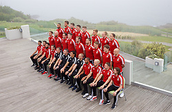 DINARD, FRANCE - Tuesday, June 7, 2016: Wales players line up for a team group photograph at the Novotel Thalasso Dinard ahead of the start of the UEFA Euro 2016 tournament. Back row L-R: Ashley 'Jazz' Richards, Emyr Huws, Paul Dummett, James Chester, Simon Church, George Williams, Jonathan Williams, David Vaughan. Middle row L-R: Andy King, James Collins, goalkeeper Daniel Ward, goalkeeper Wayne Hennessey, goalkeeper Owain Fon Williams, Sam Vokes, David Edwards, Ben Davies, David Cotterill. Front row L-R: Neil Taylor, Hal Robson-Kanu, Joe Ledley, Gareth Bale, goalkeeping coach Martyn Margetson, assistant manager Osian Roberts, manager Chris Coleman, coach Paul Trollope, captain Ashley Williams, Aaron Ramsey, Joe Allen. (Pic by Paul Greenwood/Propaganda)