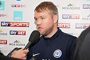 Peterborough United manager Grant McCann talks to the press after the EFL Sky Bet League 1 match between Peterborough United and Chesterfield at London Road, Peterborough, England on 10 December 2016. Photo by Nigel Cole.