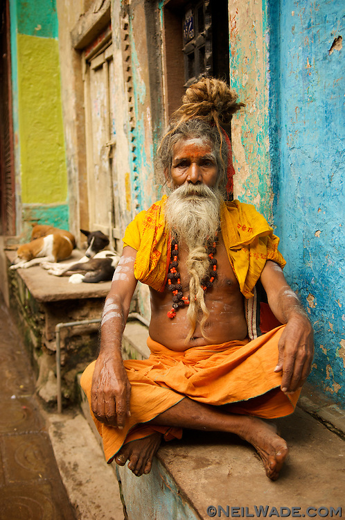 Varanasi, India - A Sadu is a Hindu holy man who devotes his life to spirituality, forsaking all material possessions. They spend their entire lives wandering the Indian Subcontinent living on what handouts people give them. They're known to do some crazy things to prove their devotion: One has kept his arm over his head for over 30 years, another kept a water bucket balanced on his head for over 20 years. Despite their intricacies, they're generally very friendly and love to have their picture taken (for a small donation, of course).