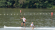 Chungju, South Korea. Men's double Sculls Final:<br /> Gold Medlaist NOR M2X. Nils Jakob HOFF and Kjetil BORCH.<br /> <br /> Silver  medalist, LTU.M2X. Rolandas MASCINSKAS and Saulius RITTER.<br /> <br />  Bronze Medalist ITA. M2X. Francesco FOSSI (b) and Romano BATTISTI (s)<br /> <br /> 4th GER. M4X. Eric KNITTEL and Stephan KRUEGER (s) <br /> <br /> 2013 Rowing Championships, Tangeum Lake, International Regatta Course.  Sunday  01/09/2013 [Mandatory Credit. Peter Spurrier/Intersport Images]