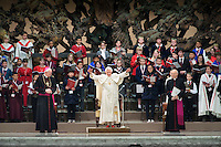 Pope Benedict XVI was received with much excitement as he arrived at a private audience with the all the Pueri Cantores choirs from around the world.