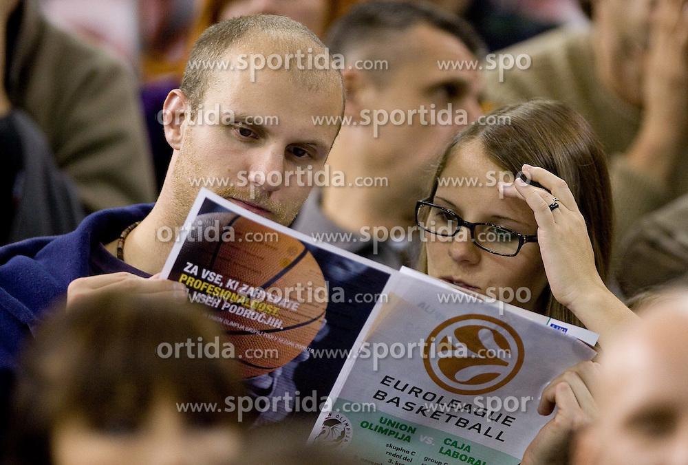 Spectators at Group C of Euroleague basketball match between KK Union Olimpija, Slovenia and Caja Laboral, Spain, on November 5, 2009, in Arena Tivoli, Ljubljana, Slovenia.  (Photo by Vid Ponikvar / Sportida)