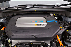 Hyundai UK demonstrates the Hydrogen-powered Nexo that not only produces completely clean emissions but also cleans up the air its engine ingests, thanks to a filtration system developed by scientists at University College London. UCL London, October 17 2018.