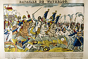 Napoleon at the Battle of Waterloo, 18 June 1815.  Popular French hand-coloured woodcut.