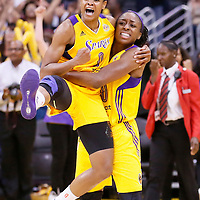 03 August 2014: Los Angeles Sparks guard/forward Alana Beard (0) celebrates with Los Angeles Sparks forward Nneka Ogwumike (30) during the Los Angeles Sparks 70-69 victory over the Connecticut Sun, at the Staples Center, Los Angeles, California, USA.