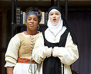 The Heresy of Love <br /> By Helen Edmundson<br /> at Shakespeare's Globe Theatre, London, Great Britain <br /> press photocall <br /> 4th August 2015 <br /> <br /> Directed by<br /> John Dove<br /> <br /> Sophia Nomvete<br /> Juanita <br /> <br /> Naomi Frederick<br /> Sor Juana<br /> <br /> Photograph by Elliott Franks <br /> Image licensed to Elliott Franks Photography Services