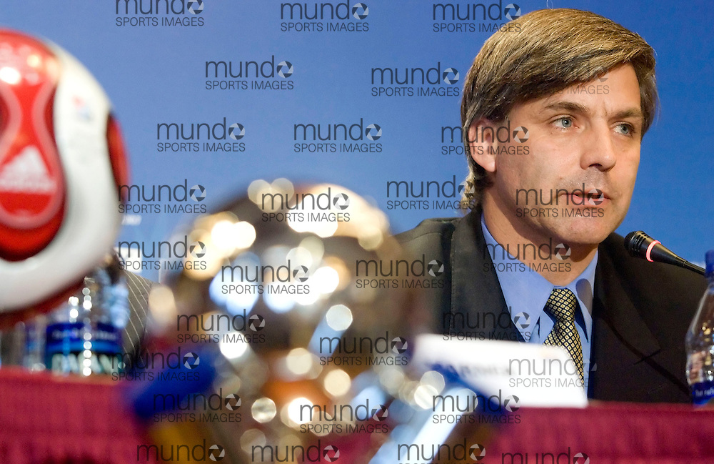 Harold Mayne-Nicholls of Chile's Football Association speaks at a press conference for the FIFA U-20 World Cup on 20 July 2007 in Toronto, Ontario, Canada. The Chilean team clashed with Toronto Police following their semi-final loss to Argentina sparking an international incident..AFP PHOTO/GEOFF ROBINS
