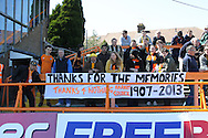 Picture by David Horn/Focus Images Ltd +44 7545 970036.20/04/2013.Barnet fans with a banner that reads 'Thanks for the memories. Thanks 4 nothing Barnet Council 1907-2013' before the npower League 2 match at Underhill Stadium, London.