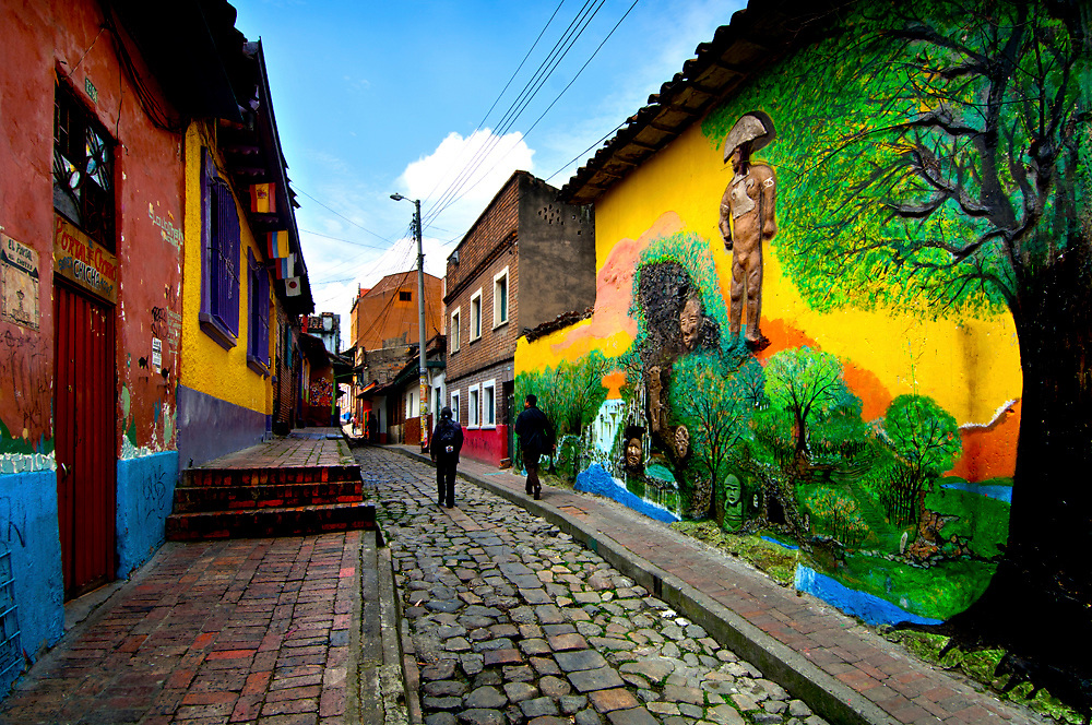 Colombia, Bogota, Callejon del Embudo or 'Funnel Alley', Oldest and Narrowest Stone Made Street In Bogota, El Chorro de Quevedo (where Bogota was founded)
