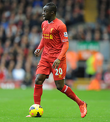 Liverpool's Aly Cissokho in action during the first half. - Photo mandatory by-line: Alex James/JMP - Tel: Mobile: 07966 386802 26/10/2013 - SPORT - FOOTBALL - Anfield Stadium - Liverpool - Liverpool v West Brom - Barclays Premier League