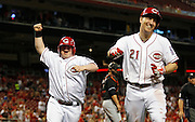 Thursday, April 18, 2013 REDS SPORTS : Cincinnati Reds guest bat boy Teddy Kremer celebrates after third baseman Todd Frazier (21) hit a sixth inning two-run home run against the Miami Marlins at Great American Ball Park. The Enquirer/Jeff Swinger