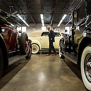 May 3, 2012 - Hibernia, NJ : Musician and composer Michael Arenella walks past a row of antique cars including his 1930 Buick Roadster Model 64, at left, as he visits Hibernia Auto Restorations LLC., located at 52 Maple Terrace in Hibernia, NJ, on Thursday. CREDIT : Karsten Moran for The New York Times
