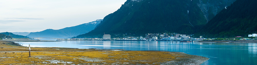 Panoramic view of Juneau, Alaska from Douglas Island.