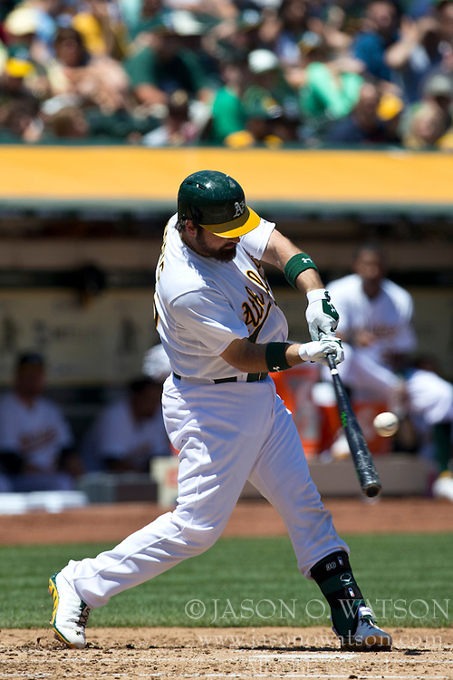 OAKLAND, CA - MAY 19: Derek Norris #36 of the Oakland Athletics at bat against the Kansas City Royals during the second inning at O.co Coliseum on May 19, 2013 in Oakland, California. The Oakland Athletics defeated the Kansas City Royals 4-3. (Photo by Jason O. Watson/Getty Images) *** Local Caption *** Derek Norris