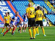 Kyle Dempsey of Carlisle United (left) celebrates scoring his team's second goal during the Sky Bet League 2 match at Brunton Park, Carlisle<br /> Picture by Greg Kwasnik/Focus Images Ltd +44 7902 021456<br /> 06/09/2014