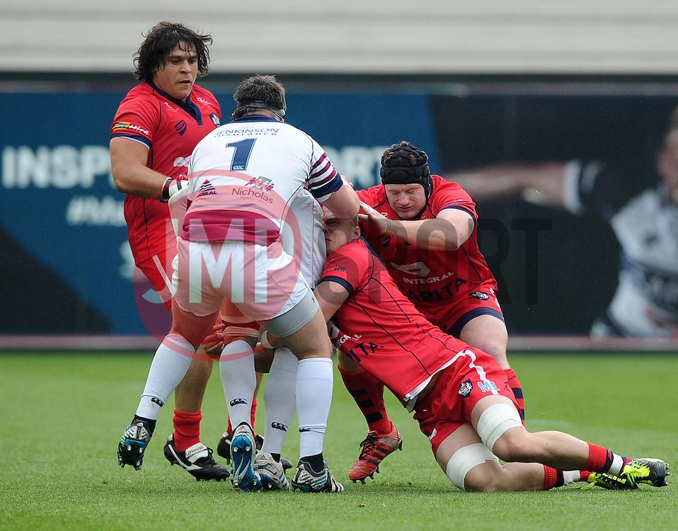 Bristol Number 8 Mitch Eadie tackles Rotherham Number 8 Ben Morris  - Photo mandatory by-line: Joe Meredith/JMP - Mobile: 07966 386802 - 02/05/2015 - SPORT - Rugby - Bristol - Ashton Gate - Bristol Rugby v Rotherham - Greene King IPA Championship