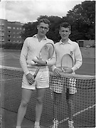30/08/1952<br /> 08/30/1952<br /> 30 August 1952<br /> Tennis - Irish National Junior Championships at Fitzwilliam Tennis Club, Appian Way, Dublin. Cecil Pedlow, Queens University, Belfast, Irish Senior Boys Tennis Champion with Peter Jackson, (right) Royal Academy, Belfast, runner up Irish Senior Boys Tennis.