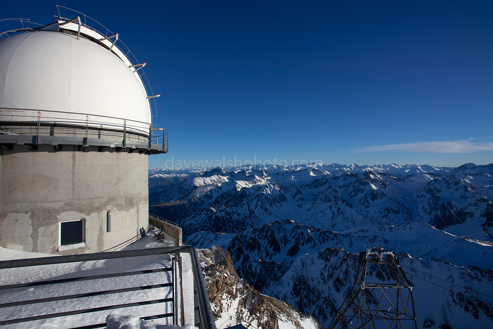 Pic du Midi de Bigorre, a 2877m mountain in the French Pyrenees, home to an astronomical observatory and visitors centre. The observatory is acccessible from the village of La Mongie by cablecar. Tourists often visit in time for the spectacular sunset across the mountains.