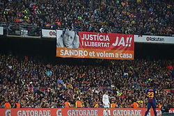 May 6, 2018 - Barcelona, Catalonia, Spain - FC Barcelona fans ask for the freedom of club ex president, Sandro Rosell during the match between FC Barcelona and Real Madrid CF, played at the Camp Nou Stadium on 06th May 2018 in Barcelona, Spain.  Photo: Joan Valls/Urbanandsport /NurPhoto. (Credit Image: © Joan Valls/NurPhoto via ZUMA Press)