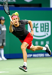 SHANGHAI, Oct. 13, 2018  Alexander Zverev of Germany returns the ball during the singles semifinal match against Novak Djokovic of Serbia at 2018 ATP Shanghai Masters tennis tournament in Shanghai, east China, Oct. 13, 2018. Zverev lost 0-2. (Credit Image: © Fan Jun/Xinhua via ZUMA Wire)