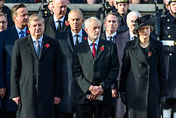 SNP Deputy Leader Angus Robertson, Labour leader Jeremy Corbyn and Prime Minister Theresa May during the annual Remembrance Sunday Service at the Cenotaph memorial in Whitehall, central London, held in tribute for members of the armed forces who have died in major conflicts. Picture date: Sunday November 13th, 2016. Photo credit should read: Matt Crossick/ EMPICS Entertainment.