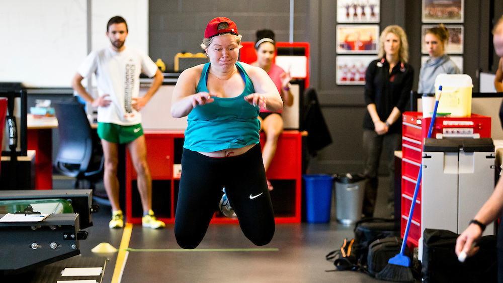 Brittany Crew does a two legged triple broad jump for distance which highly correlates to sprint speed at the Pacific Institute for Sport Excellence on December 3rd, 2015 in Victoria, British Columbia Canada.