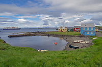 Colorful homes of Flatey Island in Brei∂affair∂ur, Iceland.