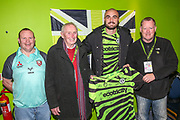 Match sponsors Coles Electrical with Man of the match Forest Green Rovers Farrend Rawson(6) during the EFL Sky Bet League 2 match between Forest Green Rovers and Scunthorpe United at the New Lawn, Forest Green, United Kingdom on 7 December 2019.