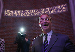 © Licensed to London News Pictures. 04/09/2015. London, UK. United Kingdom Independence Party (UKIP) leader Nigel Farage launches his 'Say No to EU referendum' tour and campaign with a biblical quote in the background at the Emmanuel Centre. Photo credit: Peter Macdiarmid/LNP