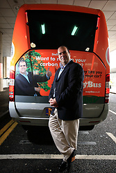 UK ENGLAND GATWICK 30SEP08 - Sir Stelios Haji-Ioannou poses for a photo in front of a new Mercedes EasyBus at the Gatwick Airport bus terminal. Haji-Ioannou started easyJet PLC when he was 28. In 2000 easyJet PLC was partially floated on the London Stock Exchange however Stelios remains the largest single shareholder. He has since founded other EasyGroup businessnes like the EasyBus company...jre/Photo by Jiri Rezac..© Jiri Rezac 2008..Contact: +44 (0) 7050 110 417.Mobile:  +44 (0) 7801 337 683.Office:  +44 (0) 20 8968 9635..Email:   jiri@jirirezac.com.Web:    www.jirirezac.com..All images © Jiri Rezac 2008. All rights reserved.